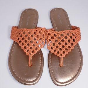 BCBG Braided Orange Gold Flat Sandals Thong 7